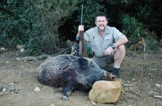 English hunter with large keiler trophy