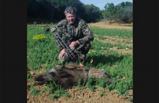 Bowhunter with wild boar