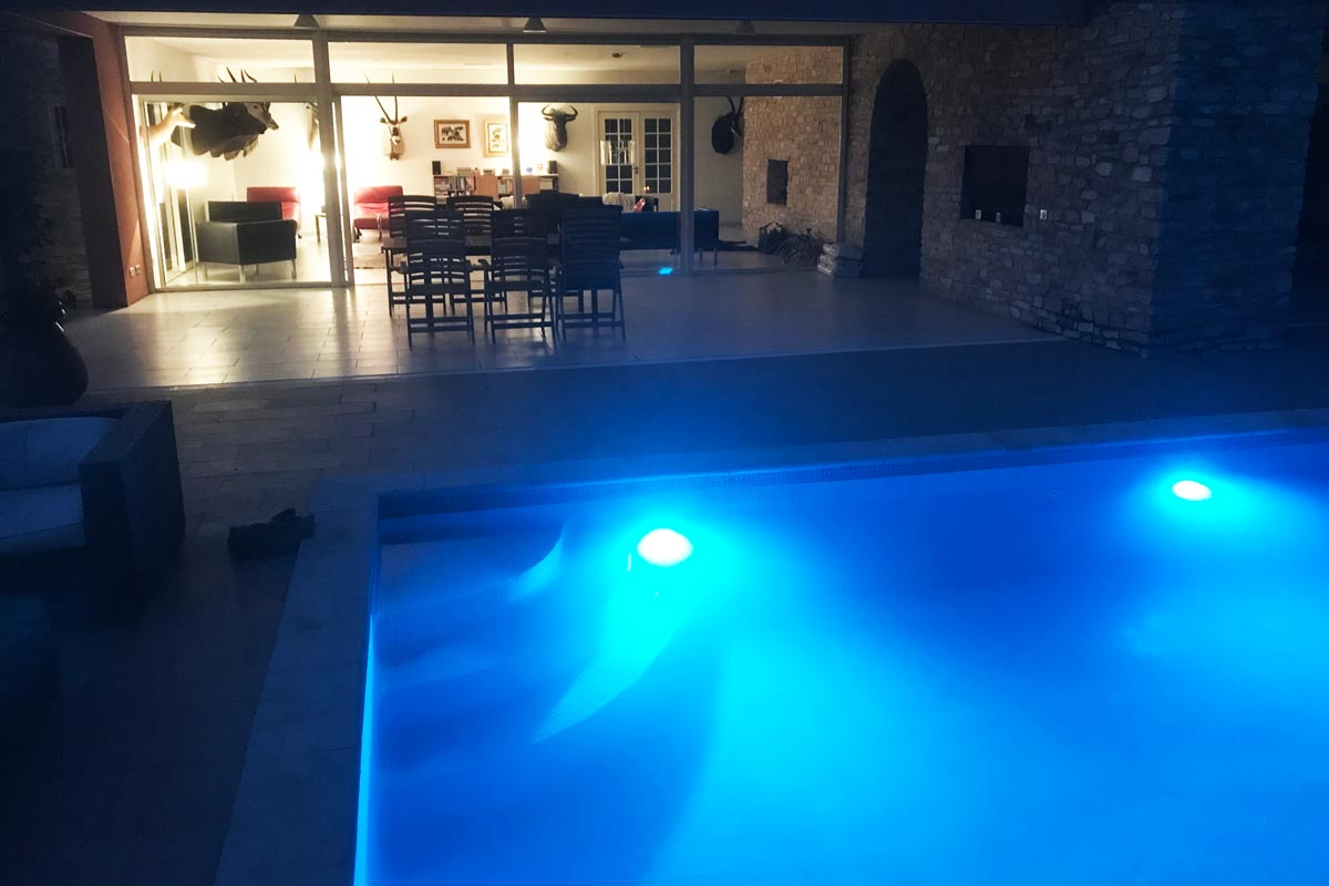 Pool environment at night